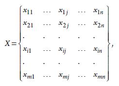 Шаг 1. Матрица исходных данных