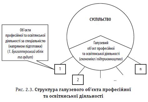 Рис. 2.3. Структура галузевого об'єкта професійної та освітянської діяльності